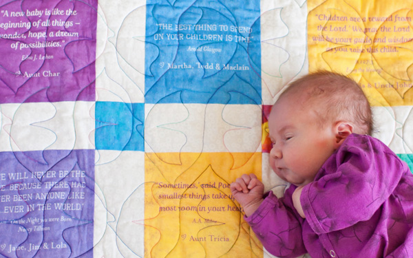 GivingQuilts make a great baby shower gift from you and your family!